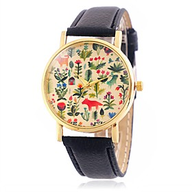 Women's Fashion Flower and Animal Pattern Wrist Quartz Watch with Leather Strap Golden Case 5259394