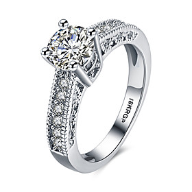 Women's Diamond Hollow Out Simulated Band Ring Statement Ring Sterling Silver Zircon Cubic Zirconia Heart Love Ladies Personalized Fashion Ring Jewelry White F