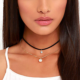 Women's Layered Tassel Choker Necklace Tattoo Choker Pearl Imitation Diamond Ladies Personalized Tattoo Style Tassel Black Necklace Jewelry For Wedding Party B