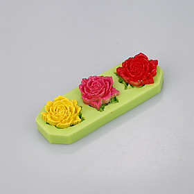 Three cavity silicone mold cake decorating tools fondant cake baking cup with flowers shape 5284348