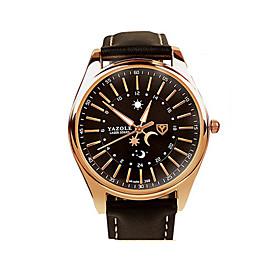 368 YAZOLE Fashion Men's Business Dress Watch Leather Strap Blue Ray Glass Noctilucent Analog Quartz Wrist Watches 5245361
