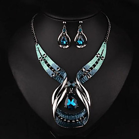 Women's Jewelry Set - Drop Luxury, European, Fashion Include Necklace / Earrings Gold / Blue For Party Daily Casual
