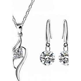 Women's Crystal Jewelry Set - Sterling Silver, Zircon, Cubic Zirconia Fashion Include Necklace / Earrings White For Party Daily Casual