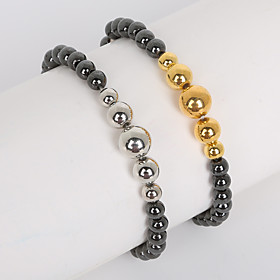Beadia 1Pc 6mm Non-Magnetic Hematite Beads  6/8/10mm Metallic Color CCB Plastic Beads Strand Bracelet(19cm) 5244428