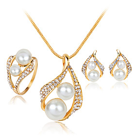 Women's Jewelry Set Pearl, Imitation Pearl, Rhinestone Ladies, Fashion Include White For Wedding Party Masquerade Engagement Party Prom Promise / Silver Plated