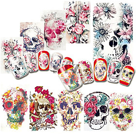 1pcs nail sticker halloween nail decals water transfer for sexy girl skull cartoon patterns diy color tips manicure