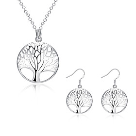 Women's Jewelry Set - Sterling Silver, Silver Plated European, Fashion Include Necklace / Earrings Gold / White For Daily Casual