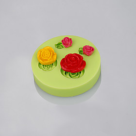 Rose flower shape silicone mold mould fondant cake decorating baking tools Color Random 5284421