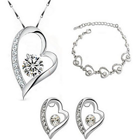 Women's Crystal Link / Chain Jewelry Set - Sterling Silver, Crystal, Gold Plated Heart, Love Fashion Include Bridal Jewelry Sets White For Party Casual Valenti