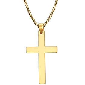 Men's Pendant Necklace - Stainless Steel, Gold Plated Cross Simple Style, Fashion Golden Necklace Jewelry For Christmas Gifts, Party, Daily