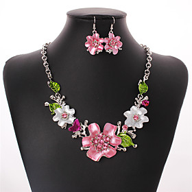 Women's Cubic Zirconia Jewelry Set - Zircon, Silver Plated Flower Bohemian, European, Fashion Include Drop Earrings Statement Necklace Rainbow For Wedding Part