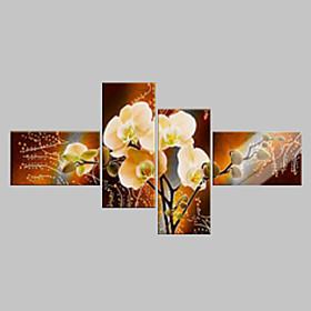 Hand-Painted  Modern Decorative Oil Painting On Canvas Wall Art Flower Picture For Living Room  4pcs/set No Frame 3798840