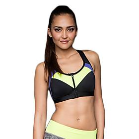 Women's Sexy Sports Bra Wireless Patchwork Front Zipper Underwear Fitness Running Yoga Tops 5285698