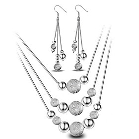 Women's Jewelry Set - Sterling Silver Ball Basic, Simple Style, Fashion Include Drop Earrings Pendant Necklace Silver For Wedding Party Daily