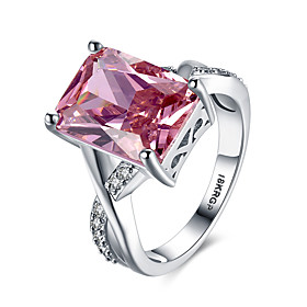 Women's Synthetic Ruby Simulated Band Ring Statement Ring Sterling Silver Zircon Imitation Diamond Heart Love Ladies Personalized Fashion Ring Jewelry Red For