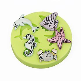 Sealife Seahorse Shells CupCake Decoration Silicone Fondant Mold Sugarcraft Tools Polymer Clay Chocolate Candy Making 5102426