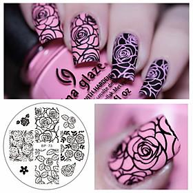rose blomst nail art stempling skabelon fosforplade født temmelig bp-73 søm stempling plader manicure stencil sæt 5282121