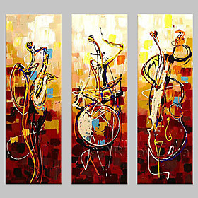 Hand-painted Wall Art Abstrac Home Decor Play Instruments Oil Painting on Canvas 3pcs/set No Frame 3798835