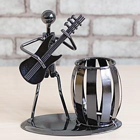Metal Music Band Retro Electric Guitar Musician Figure Model Iron Man Brush Pot Pen Container Pen holder Office Decor