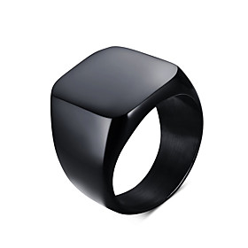 Men's Statement Ring Signet Ring Titanium Steel Personalized Vintage European Simple Style Ring Jewelry Black / Silver For Daily Casual 7 / 8 / 9 / 10 / 11