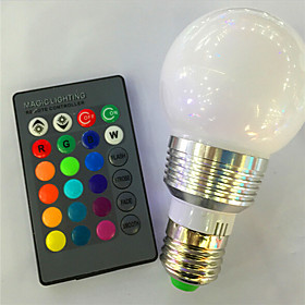 1pc 3 W 120 lm E26 / E27 LED Smart Bulbs A60(A19) 1 LED Beads High Power LED Dimmable / Remote-Controlled / Decorative RGB 85-265 V / 1 pc / RoHS