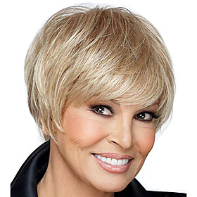 Short Straight Hair Blonde Color Synthetic Wigs for Women 5372585