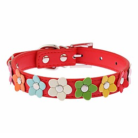 Cat Dog Collar Adjustable / Retractable Running Hands free Casual Cosplay Flower PU Leather Black Rose Red Blue Pink 5337139