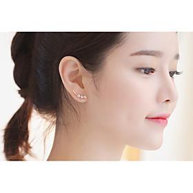 Women's Crystal Synthetic Diamond Stud Earrings Clip Earrings - Sterling Silver Leaf, Heart, Flower Personalized, Double-layer, Fashion Gold / Silver For Weddi
