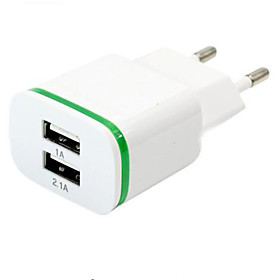 High Quality EU Plug 2.0A/1.0A Wall Charger Mini Dual Ports USB LED Light Fast Charging Power Adapter 5359702