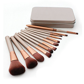 12 Makeup Brushes Set Nylon Hair Professional / Portable Wood Handle Face/Eye /Lip 5373103