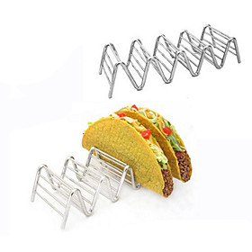 Taco Holders Mexican Food for 4-5pcs Stainless Steel Rack Stand Hard Soft Shells Strong Wavy Rack Bread Sandwich Holding 5355499