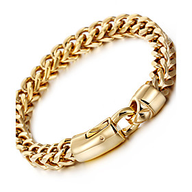Men's Wheat Chain Bracelet 18K Gold Plated Stainless Steel Titanium Steel Luxury Fashion Hip-Hop Bracelet Jewelry Silver / Golden For Party Gift Daily Casual S