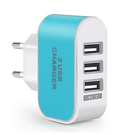 Portable Wall Charger USB Travel Charger Adapter EU Plug Multi Ports 3 USB Ports 3.1 A for Mobile Phone