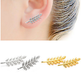 Women's Crystal Stud Earrings Drop Earrings - Leaf Simple Style, Double-layer Gold / Black / Silver For Daily Casual Sports