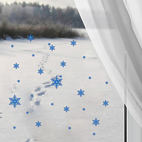 Christmas Blue Snowflake Ice Flowers Wall Stickers Fashion DIY Removable Bedroom Living Room Bathroom Glass Wall Decals 5310722