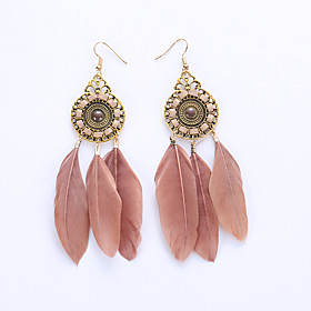 Women's Drop Earrings Hoop Earrings Earrings Feather Earrings Feather Ladies European Fashion Native American Jewelry Red / Rainbow / Khaki For Wedding Party D