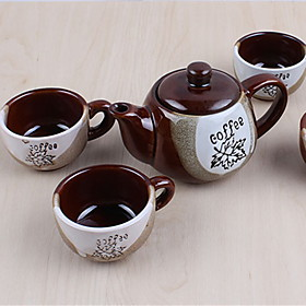Classic Coffee Mugs Ceramic Tea Cups Set (1 Pot 4 Cups with Cup Holder Random Colors) 5165151