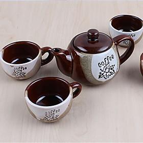 Classic Coffee Mugs Ceramic Tea Cups Set (1 Pot 4 Cups with Cup Holder Random Colors) 5165151