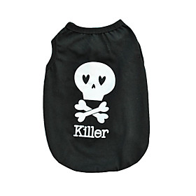Cool Black Cotton Halloween Skull Killer Vest Shirt Summer Dog Clothes for Pets 5335450