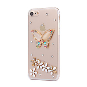 Per Con diamantini Custodia Custodia posteriore Custodia Farfalla Resistente PC AppleiPhone 7 Plus \/ iPhone 7 \/ iPhone 6s Plus\/6 Plus \/