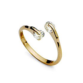 Women's two stone Band Ring wrap ring Zircon Cubic Zirconia Imitation Diamond Ladies Fashion Ring Jewelry Golden For Wedding Party Daily Adjustable / Alloy