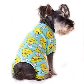 Cat Dog Jumpsuit Pajamas Dog Clothes Cartoon Yellow Red Blue Pink Blue-Yellow Cotton Costume For Pets Men's Women's Cute Casual/Daily