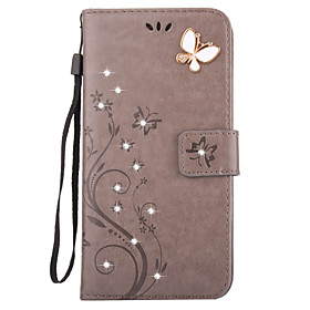 Case For Apple iPhone X / iPhone 8 / iPhone 7 Wallet / Card Holder / Rhinestone Full Body Cases Butterfly Hard PU Leather for iPhone X / iPhone 8 Plus / iPhone