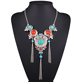 Women's Turquoise Pendant Necklace Statement Necklace Long Necklace Resin Turquoise Ladies European Fashion Rainbow Necklace Jewelry For Wedding Party Daily Ca