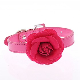 Cat / Dog Collar Adjustable/Retractable / Cosplay / Running / Hands free / Casual Flower Red / Blue / Pink / Purple / Rose PU Leather 5337141