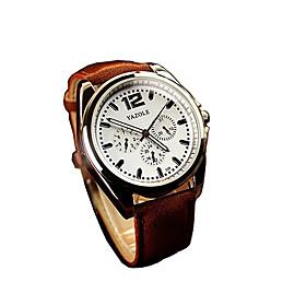 335 YAZOLE Fashion Men's Business Dress Watch Leather Strap Blue Ray Glass Analog Quartz Wrist Watches 5347205