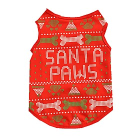 Cat Dog Vest Dog Clothes Summer Spring/Fall Bone Cute Christmas Red 5335487