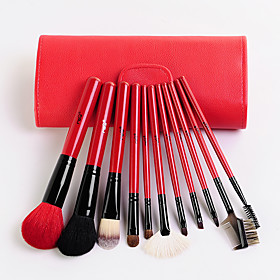 MSQ 11 Makeup Brushes Set Goat Hair Hypoallergenic / Portable / Professional / Travel / Full Coverage / Eco-friendly / Limits bacteria Wood 5328034