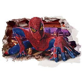 3D Spider-Man Broken Wall Design Superhero 3D Wall Stickers Removable Children's Bedroom Living Room Wall Decals 5310755