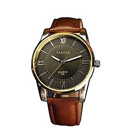 348 YAZOLE Fashion Men's Business Dress Watch Leather Strap Blue Ray Glass Analog Quartz Wrist Watches 5347206